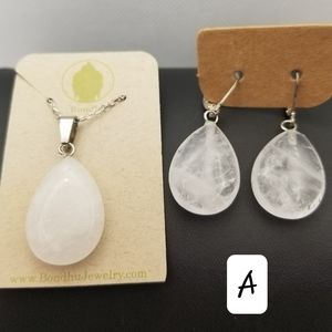 Clear Quartz Crystal Necklace and Earring Set